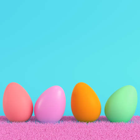Colorful easter eggs on the pink grass on bright blue background in pastel colors. Minimalism concept. 3d render
