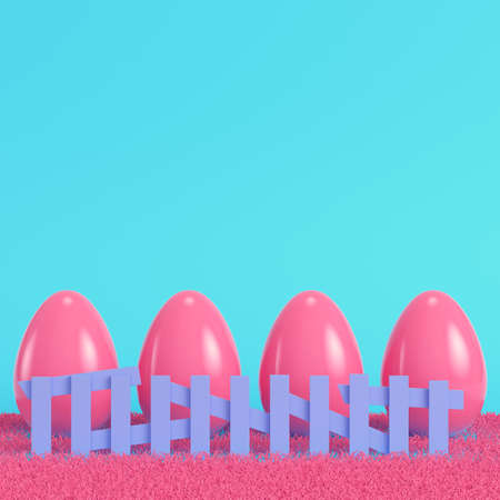 Pink easter eggs behind the fence on bright blue background in pastel colors. Minimalism concept. 3d render