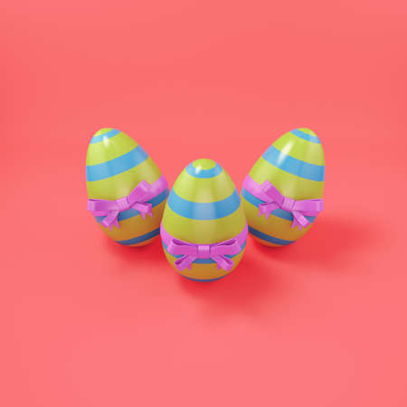 Easter eggs with bow on bright red background. 3d render Standard-Bild