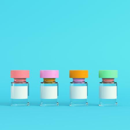 Pink syringe with vaccine on bright blue background in pastel colors. Minimalism concept. 3d render Standard-Bild