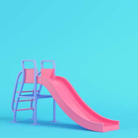 Pink children slide on bright blue background in pastel colors. Minimalism concept. 3d render