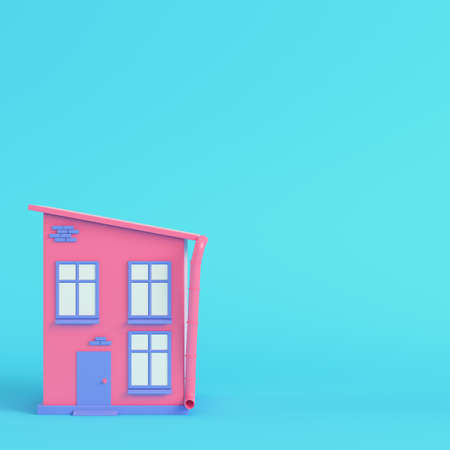 Pink cartoon styled house on bright blue background in pastel colors. Minimalism concept. 3d render Standard-Bild