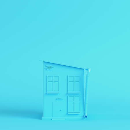 Cartoon styled house on bright blue background in pastel colors. Minimalism concept. 3d render