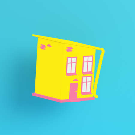 Yellow cartoon styled house on bright blue background in pastel colors. Minimalism concept. 3d render Standard-Bild