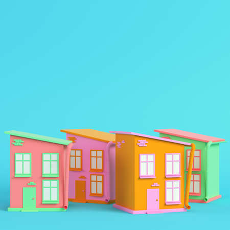 Colorful cartoon styled houses on bright blue background in pastel colors. Minimalism concept. 3d render