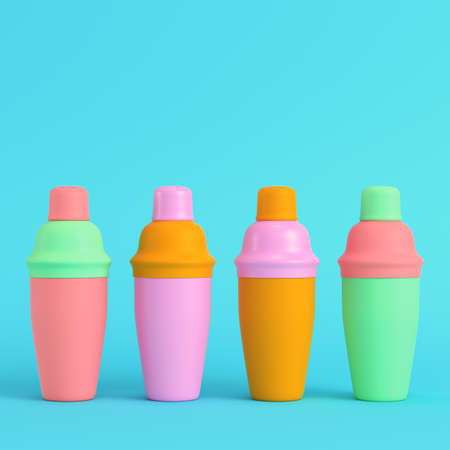 Colorful cocktail shakers on bright blue background in pastel colors. Minimalism concept. 3d render