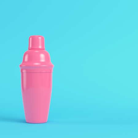 Pink cocktail shaker on bright blue background in pastel colors. Minimalism concept. 3d render Standard-Bild