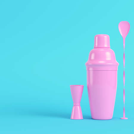 Pink cocktail shaker with jigger and mix spoon on bright blue background in pastel colors. Minimalism concept. 3d render