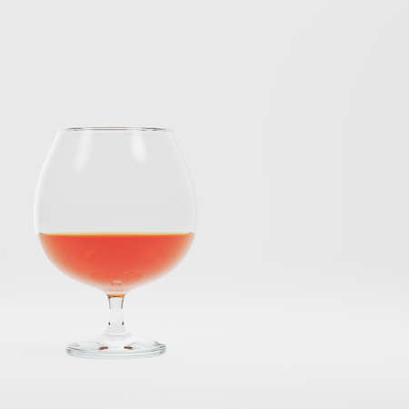 Glass with alcohol on bright background. 3d render Standard-Bild