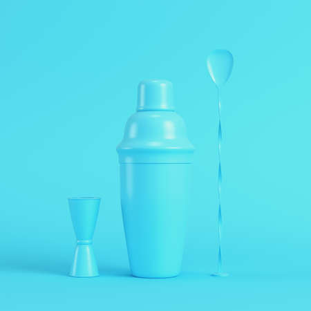 Cocktail shaker with jigger and mix spoon on bright blue background in pastel colors. Minimalism concept. 3d render