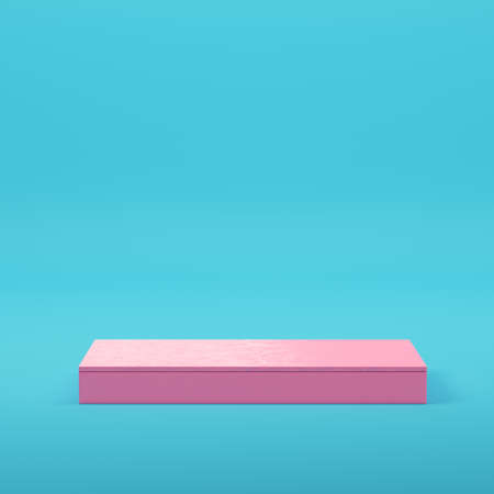 Pink three ancient columns on bright blue background in pastel colors. Minimalism concept. 3d render