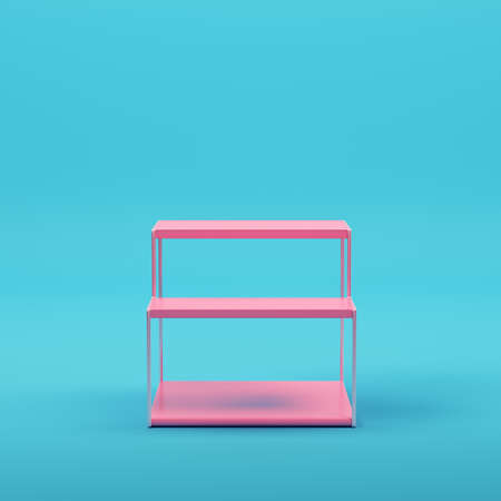 Pink empty glowing product display  on bright blue background in pastel colors. Minimalism concept. 3d render
