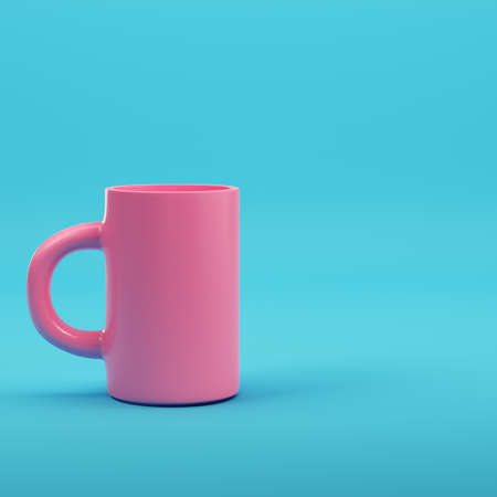 Pink coffee mug on bright blue background in pastel colors. Minimalism concept. 3d render