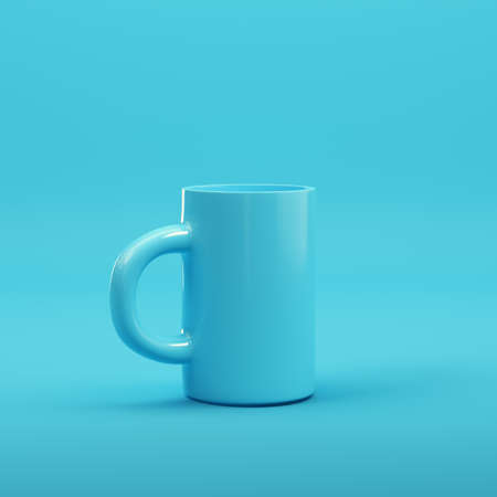 Coffee mug on bright blue background in pastel colors. Minimalism concept. 3d render