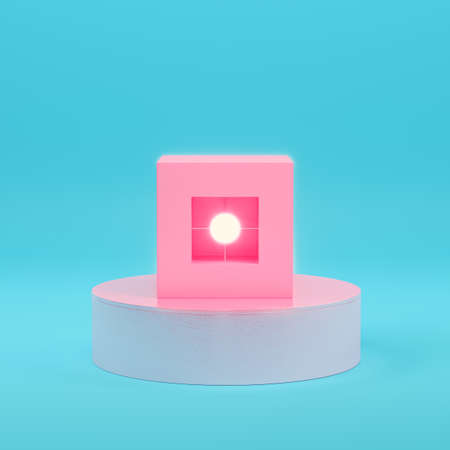 Pink abstract geometry objects with lighting sphere on bright blue background in pastel colors. Minimalism concept. 3d render