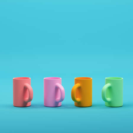 Colorful coffee mugs on bright blue background in pastel colors. Minimalism concept. 3d render