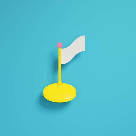 Flag on bright blue background in pastel colors. Minimalism concept. 3d render Standard-Bild