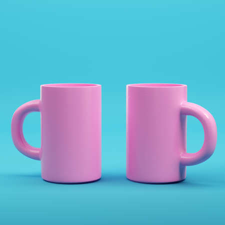 Pink  on bright blue background in pastel colors. Minimalism concept. 3d render