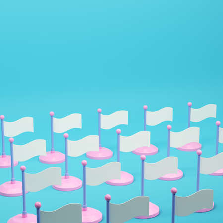 Array of white flags  on bright blue background in pastel colors. Minimalism concept. 3d render Standard-Bild