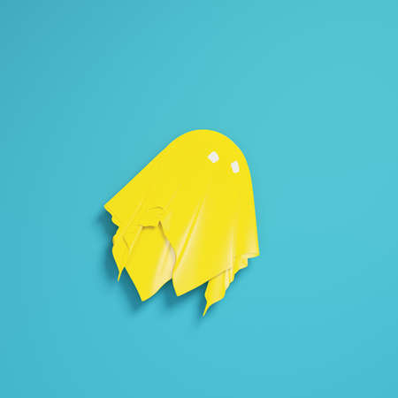 Yellow cute ghost character on bright blue background in pastel colors. Minimalism concept. 3d render