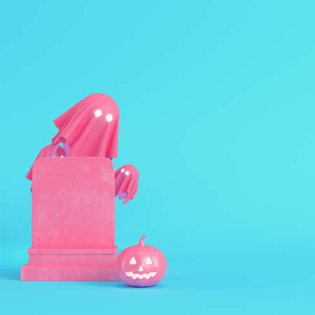 Yellow halloween pumpkin with gravestone on bright blue background in pastel colors. Minimalism concept. 3d render
