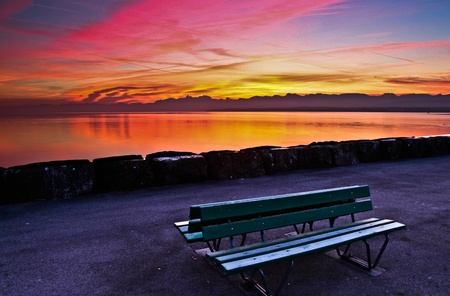 lac: An interesting colors of early morning sky from a green bench