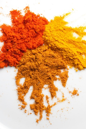 tumeric: Tumeric, curry, and chilly powder Stock Photo