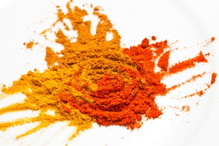Tumeric, curry, and chilly powder photo
