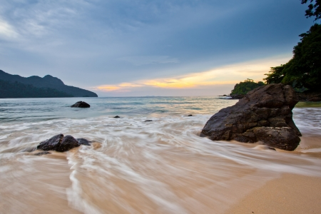 Sunset at a beach in Langkawi, Malaysia photo