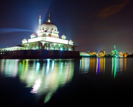 prayer tower: Putra Mosque in Putrajaya Malaysia at sunrise Stock Photo