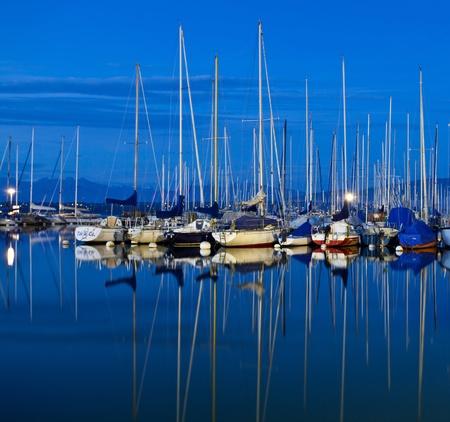 Sailboats mooring at a Marina in Lake Geneva