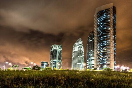 Modern buildings at night time in HDR, at Putrajaya, Malaysia,