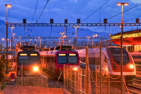 Electric train in Geneva rail yard