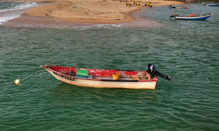 July 30th, 2011, Trengganu, Malaysia. A small fishing boat in the river.