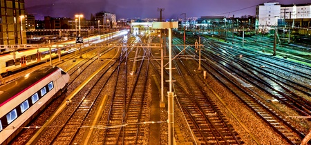 Geneva train yard in the morning. Standard-Bild