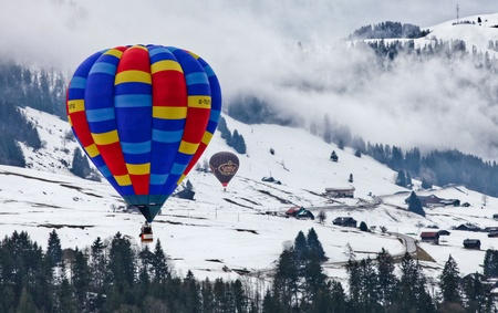 January 23rd, 2012 Chateau de Oex, Switzerland. The 34th International Hot Air Balloon Festival in Chateau de Oex Switzerland. The festival is being held from 21- 29 January 2012.