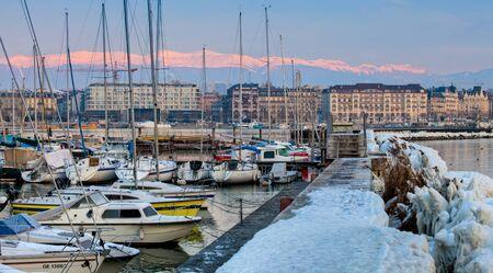 Dawn at a marina at Lake Geneva, Switzerland photo
