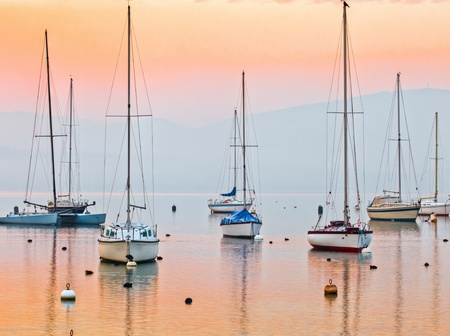 Sunrise at Lake Geneva, Switzerland with sailboats and yachts  photo