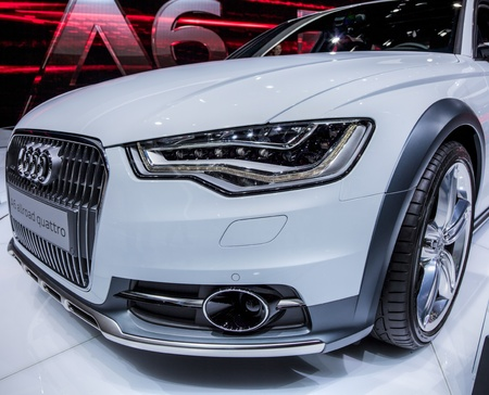 Geneva, Switzerland- 8th March 2012. Audi A6 front end  at 82nd Geneva International Motorshow 2012. The event is held from 8 to 18 March 2012.