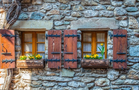 Medieval windows in the medieval village of Yvoire, France