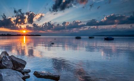 Sun rising at Lake Geneva