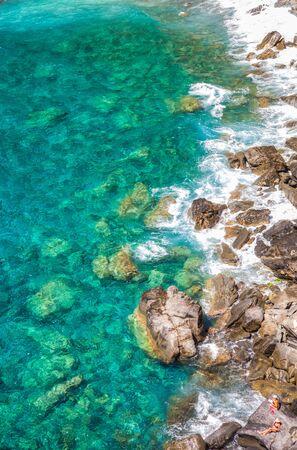 The turquoise color sea at Corniglia, Cinque Terre, Liguria, Italy