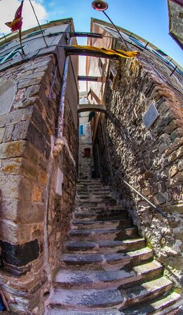 Narrow Street at Corniglia, Cinque Terre, Liguria, Italy photo