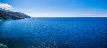 View of the Mediterranean Sea at Corniglia, Cinque Terre, Italy photo