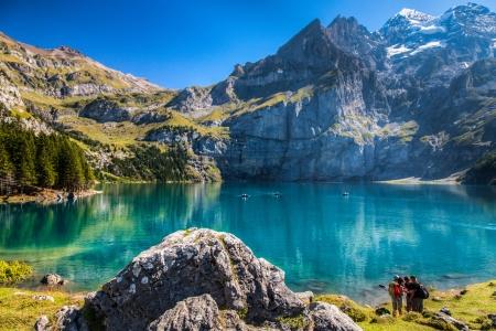 big scenery: The Oeschinen mountain lake ot Oeschinensee in Kandersteg, Switzerland