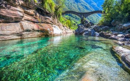 The double-arched stone bridge  Ponte dei salti  in Lavertezzo, Verzasca Valley, Ticino, Switzerland