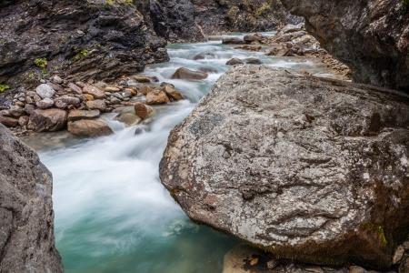 veny: The alpine mountain stream of Dora di Ferret at Val Veny, Italy