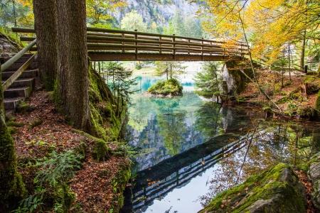 Blausee, Switzerland, - The Bridge Stock Photo