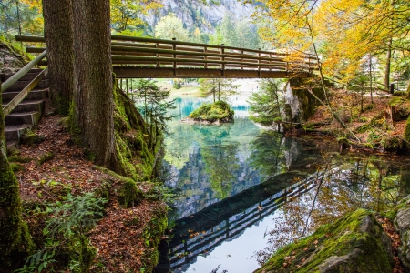 mirror on the water: Blausee, Switzerland, - The Bridge Stock Photo