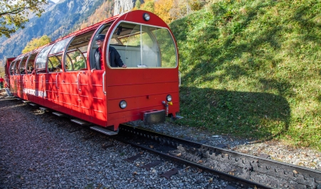Brienzer-Rothorn, Switzerland, October 20th, 2012. The Brienz-Rothorn railway track still serviced by steam engine locomotives, to the viewing area on top of Rothorn mountains.